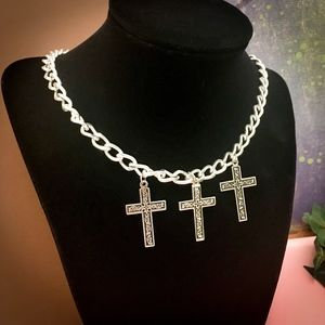 Silver Colored Metal Chain Necklace with 3 Crosses